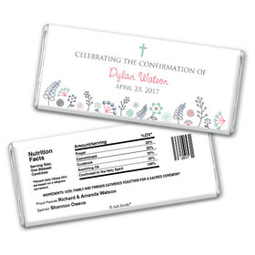Confirmation Personalized Chocolate Bar Blooming Flowers