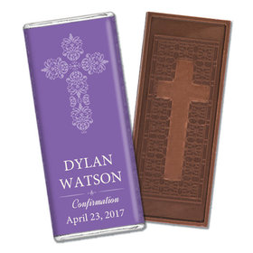 Confirmation Personalized Embossed Cross Chocolate Bar Elegant Cross