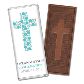 Confirmation Personalized Embossed Cross Chocolate Bar