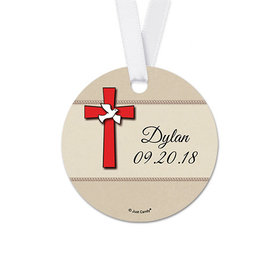 Personalized Red Cross Confirmation Round Favor Gift Tags (20 Pack)