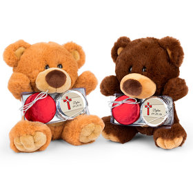 Personalized Red Cross Teddy Bear with Chocolate Covered Oreo 2pk