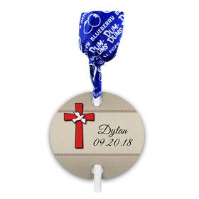 Personalized Confirmation Dove & Red Cross Dum Dums with Gift Tag (75 pops)