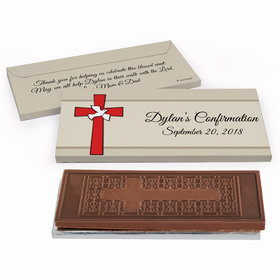 Deluxe Personalized Red Cross Confirmation Embossed Chocolate Bar in Gift Box
