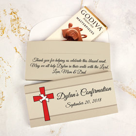 Deluxe Personalized Confirmation Godiva Chocolate Bar in Gift Box- Red Cross and Dove