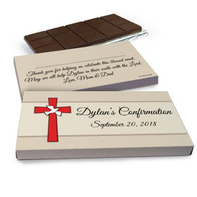 Deluxe Personalized Confirmation Red Cross & Dove Chocolate Bar in Gift Box (3oz Bar)
