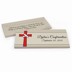 Deluxe Personalized Red Cross Confirmation Chocolate Bar in Gift Box