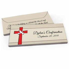 Deluxe Personalized Red Cross Confirmation Candy Bar Favor Box
