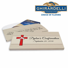 Deluxe Personalized Red Cross & Dove Confirmation Ghirardelli Chocolate Bar in Gift Box