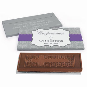 Deluxe Personalized Ribbon Confirmation Embossed Chocolate Bar in Gift Box