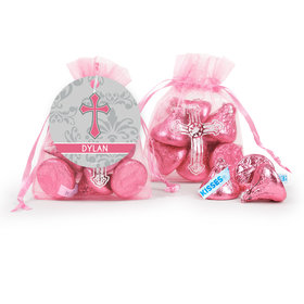 Personalized Girl Confirmation Host & Silver Chalice Cross Organza Bag with Hershey's Kisses