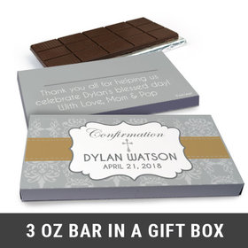 Deluxe Personalized Confirmation Girl's Ribbon Chocolate Bar in Gift Box (3oz Bar)