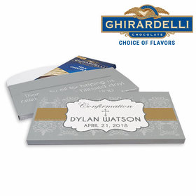 Deluxe Personalized Girl Ribbon Confirmation Ghirardelli Chocolate Bar in Gift Box