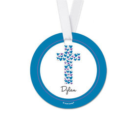 Personalized Heart Cross Confirmation Round Favor Gift Tags (20 Pack)