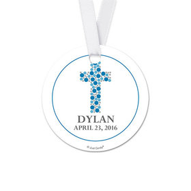 Personalized Stone Cross Confirmation Round Favor Gift Tags (20 Pack)