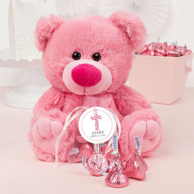 Personalized Girl Confirmation Stone Cross Pink Teddy Bear and Organza Bag with Hershey's Kisses