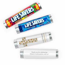 Personalized Confirmation Round Stone Cross Lifesavers Rolls (20 Rolls)