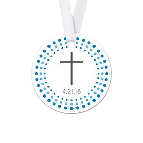 Personalized Radiant Cross Confirmation Round Favor Gift Tags (20 Pack)