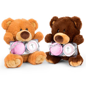 Personalized Girl's Radiant Cross Teddy Bear with Chocolate Covered Oreo 2pk