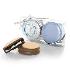 Personalized Confirmation Blue Dotted Circle Calvary Cross 2PK Chocolate Covered Oreo Cookies