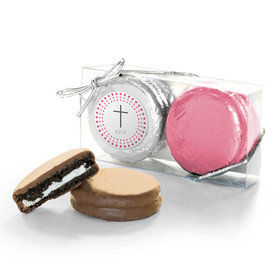 Personalized Confirmation Pink Dotted Circle Calvary Cross 2PK Chocolate Covered Oreo Cookies