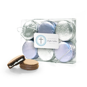 Personalized Confirmation Blue Dotted Circle Calvary Cross 6PK Chocolate Covered Oreo Cookies