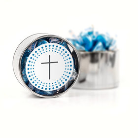 Confirmation Blue Dotted Circle Calvary Cross Hershey's Kisses Medium Plastic Tin