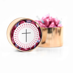 Confirmation Pink Dotted Circle Calvary Cross Hershey's Kisses Medium Plastic Tin