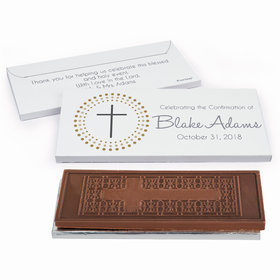 Deluxe Personalized Radiating Cross Confirmation Embossed Chocolate Bar in Gift Box