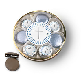 Confirmation Blue Dotted Circle Calvary Cross Chocolate Covered Oreo Cookies Large Plastic Tin