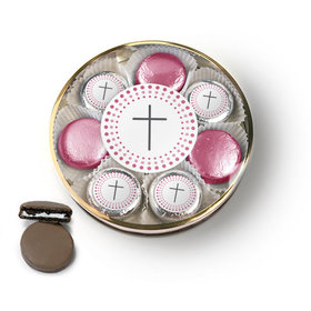 Confirmation Pink Dotted Circle Calvary Cross Chocolate Covered Oreo Cookies Large Plastic Tin