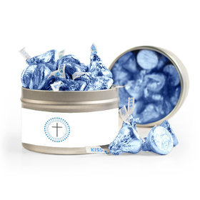 Confirmation Blue Dotted Circle Calvary Cross 8oz Tin with Label