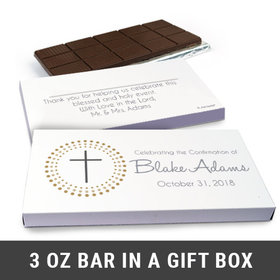 Deluxe Personalized Confirmation Girl's Dotted Calvary Cross Chocolate Bar in Gift Box (3oz Bar)