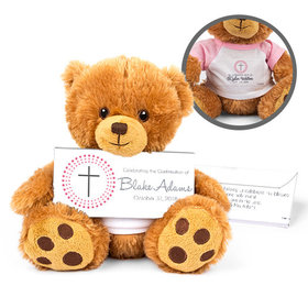 Personalized Girl's Radiant Cross Teddy Bear with Belgian Chocolate Bar in Deluxe Gift Box