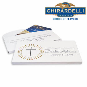 Deluxe Personalized Girl Calvery Cross Confirmation Ghirardelli Chocolate Bar in Gift Box