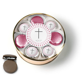 Personalized Confirmation Pink Dotted Circle Calvary Cross Chocolate Covered Oreo Cookies Extra-Large Plastic Tin