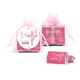 Personalized Girl Confirmation Host & Silver Chalice Cross Organza Bag with Hershey's Miniatures