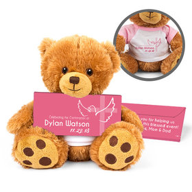 Personalized Girl's Cross & Dove Teddy Bear with Belgian Chocolate Bar in Deluxe Gift Box