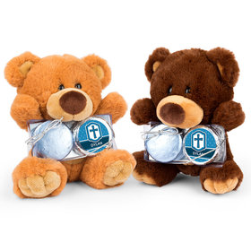 Personalized Boy's Engraved Cross Teddy Bear with Chocolate Covered Oreo 2pk