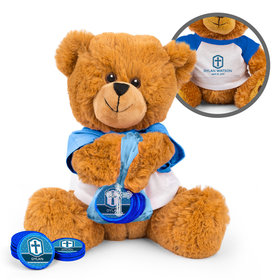 Personalized Boy's Engraved Cross Teddy Bear with Chocolate Coins in XS Organza Bag