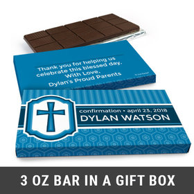 Deluxe Personalized Confirmation Boy's Framed Cross Chocolate Bar in Gift Box (3oz Bar)