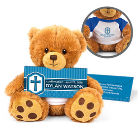 Personalized Boy's Engraved Cross Teddy Bear with Belgian Chocolate Bar in Deluxe Gift Box