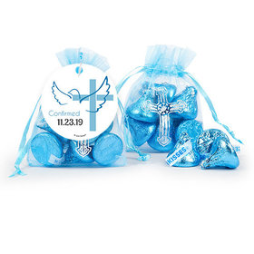 Personalized Boy Confirmation Host & Silver Chalice Cross Organza Bag with Hershey's Kisses