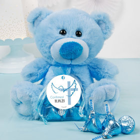 Personalized Boy Confirmation Dove & Cross Blue Teddy Bear and Organza Bag with Hershey's Kisses