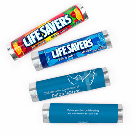 Personalized Confirmation Cross and Dove Lifesavers Rolls (20 Rolls)