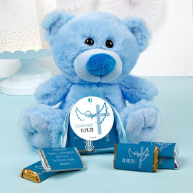 Personalized Boy Confirmation Dove & Cross Blue Teddy Bear and Organza Bag with Hershey's Miniatures
