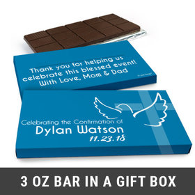 Deluxe Personalized Confirmation Dove & Cross Boy Chocolate Bar in Gift Box (3oz Bar)