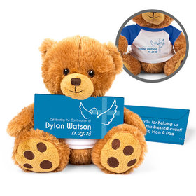 Personalized Boy's Cross & Dove Teddy Bear with Belgian Chocolate Bar in Deluxe Gift Box