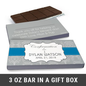 Deluxe Personalized Confirmation Boy's Ribbon Chocolate Bar in Gift Box (3oz Bar)