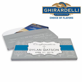 Deluxe Personalized Boy Ribbon Confirmation Ghirardelli Chocolate Bar in Gift Box