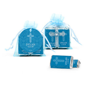 Personalized Boy Confirmation Host & Silver Chalice Cross Organza Bag with Hershey's Miniatures